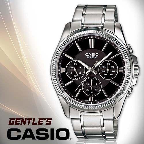 CASIO手錶專賣店 卡西歐 MTP-1375D-1A 男錶 三眼 礦物玻璃鏡面 不鏽鋼錶殼+IP電鍍 不鏽鋼錶帶