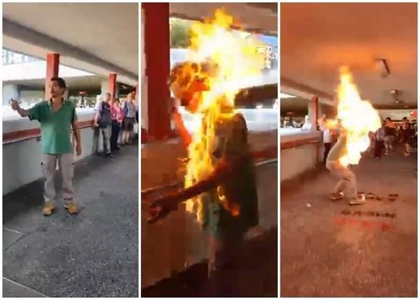 一名男子疑因政見問題遭人淋潑易燃液點火。(互聯網)