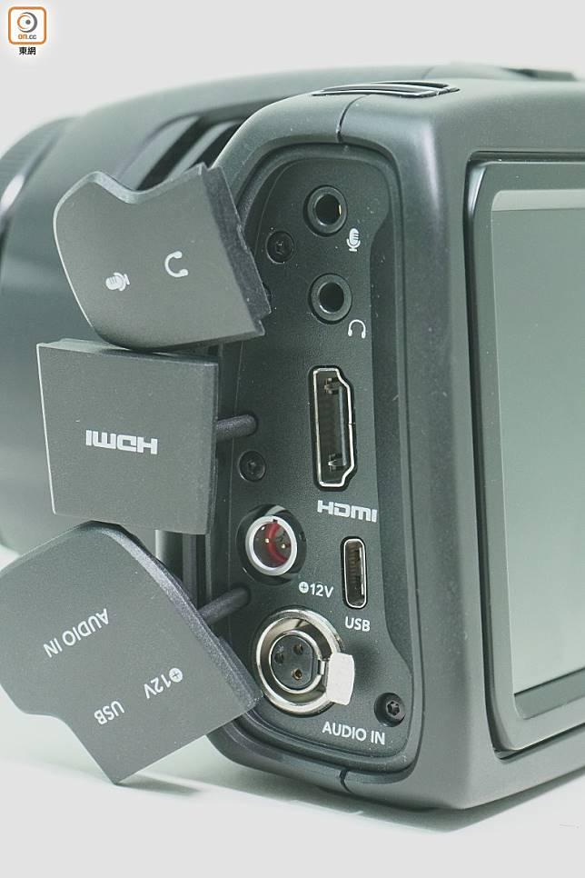 設有HDMI、USB-C、XLR、3.5mm等插口,相當齊全。(莫文俊攝)
