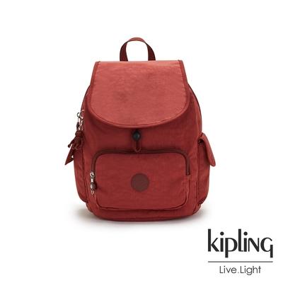 Kipling 微醺感胭脂紅拉鍊掀蓋後背包-CITY PACK S