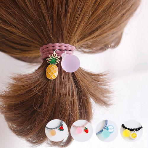 夏日水果圓珠雙層髮圈 髮圈 造型髮飾 彈性髮圈