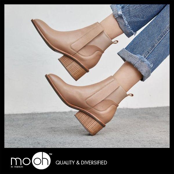 切爾西靴 全真皮拚色鬆緊帶方頭粗跟短靴 裸色 黑色 mo.oh(歐美鞋款)