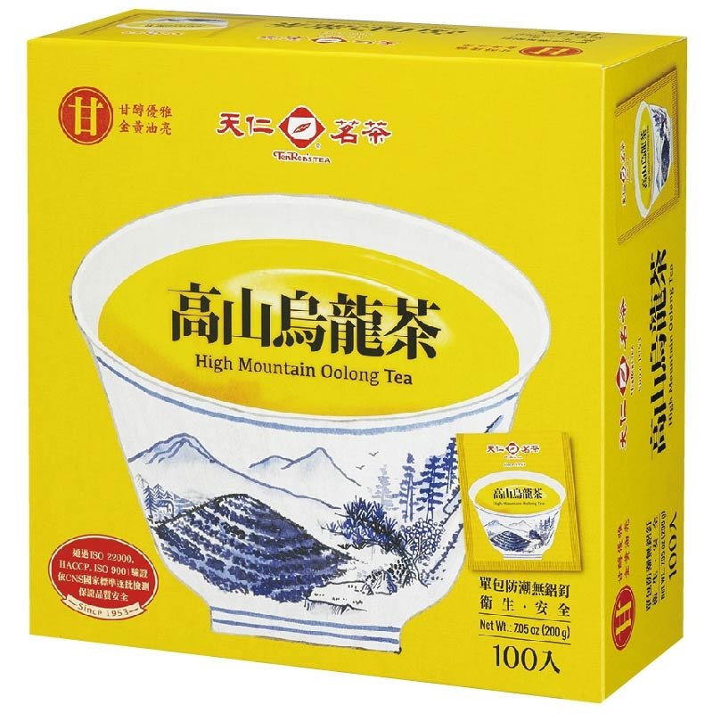 屬於輕發酵烏龍茶,由天仁專業製茶師傅嚴格評選、精心焙製,茶湯金黃、香氣優雅、喉韻甘醇,值得您細細品味。單包防潮無鋁釘、環保。衛生。安全 100入※ 製造日期與有效期限,商品成分與適用注意事項皆標示於包