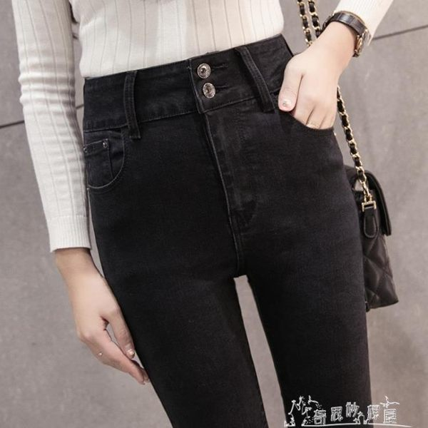 春夏高腰牛仔褲女黑色修身顯瘦窄管褲九分鉛筆褲排扣