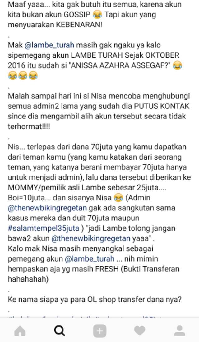 Sindiran untuk Lambe Turah. (Foto: Instagram/thenewbikingregetan)