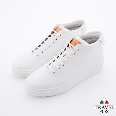 Travel Fox(男) 世界不用太複雜 牛皮半高筒休閒鞋 - 白