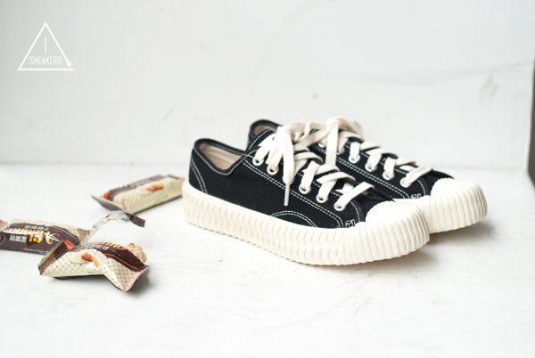 EXCELSIOR 餅乾鞋 黑米白膠底帆布鞋 CS-M6017CV-BK 女 韓國限定