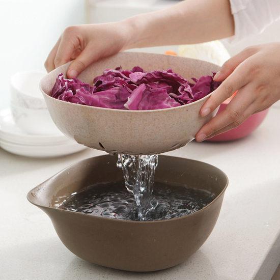 環保小麥雙層瀝水籃 方形 手把 洗菜 清洗 置物 收納 水果 蔬菜 瀝乾 過濾【H31】慢思行
