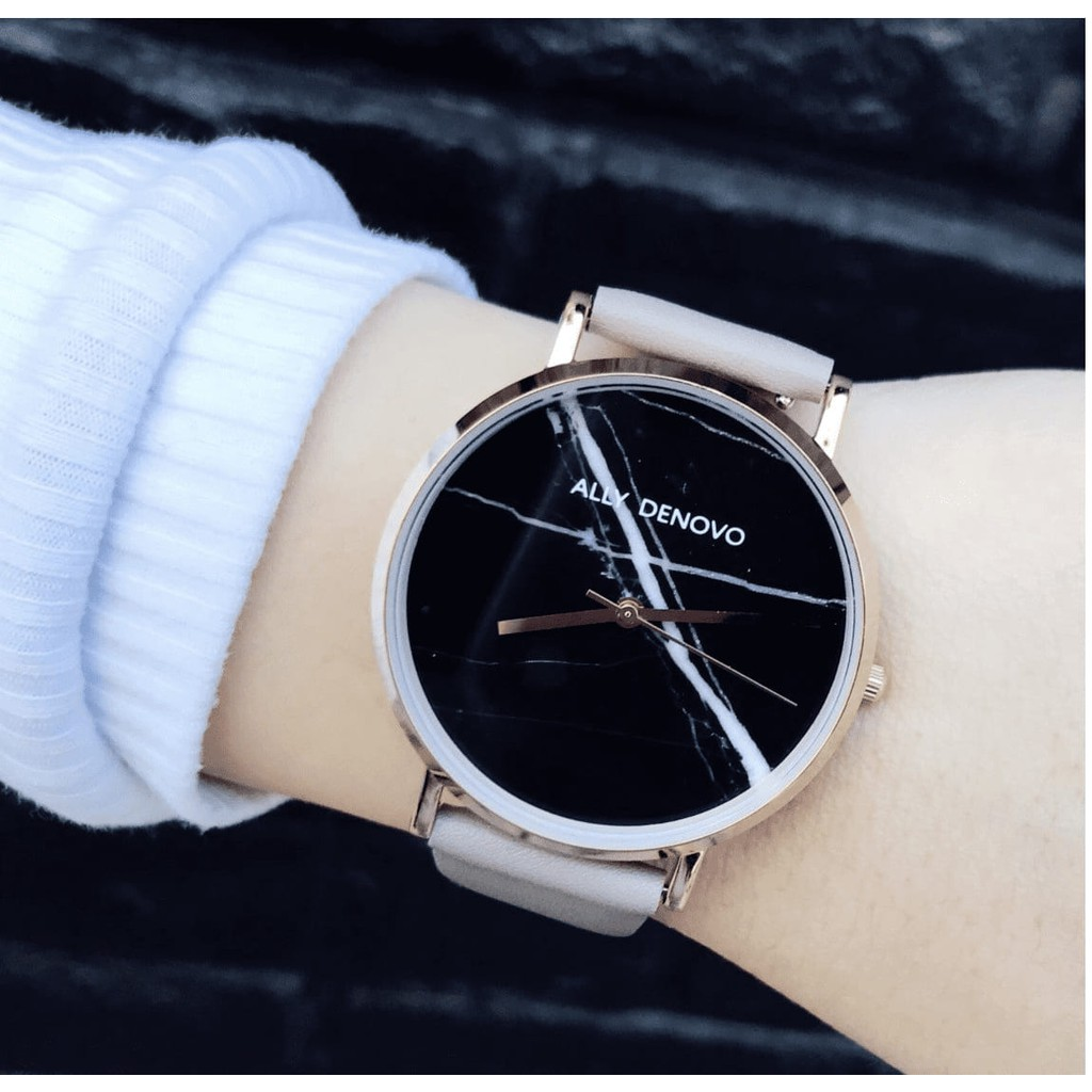【Ally Denovo 女款】黑大理石玫瑰金框乳灰色真皮錶帶(AF5005-8)