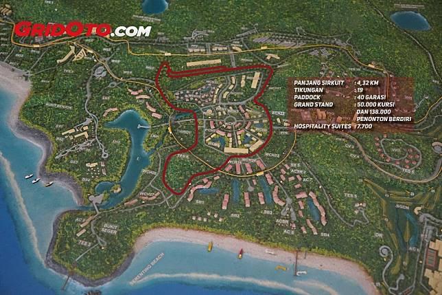 Denah sirkuit MotoGP Mandalika yang di dalam kawasannya akan banyak terdapat villa dan penginapan