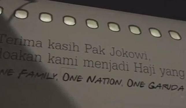 Garuda Indonesia pada Ahad, 7 Juli 2019, mengunggah video pemberangkatan jemaah haji pertama di musim haji 2019. Postingan ini berkembang viral karena di badan pesawat ada stiker ucapan terima kasih kepada Presiden Jokowi. Instagram/@garuda.indonesia