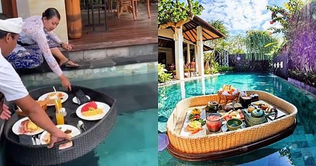 Video ekspektasi floating breakfast ala Bali, endingnya apes