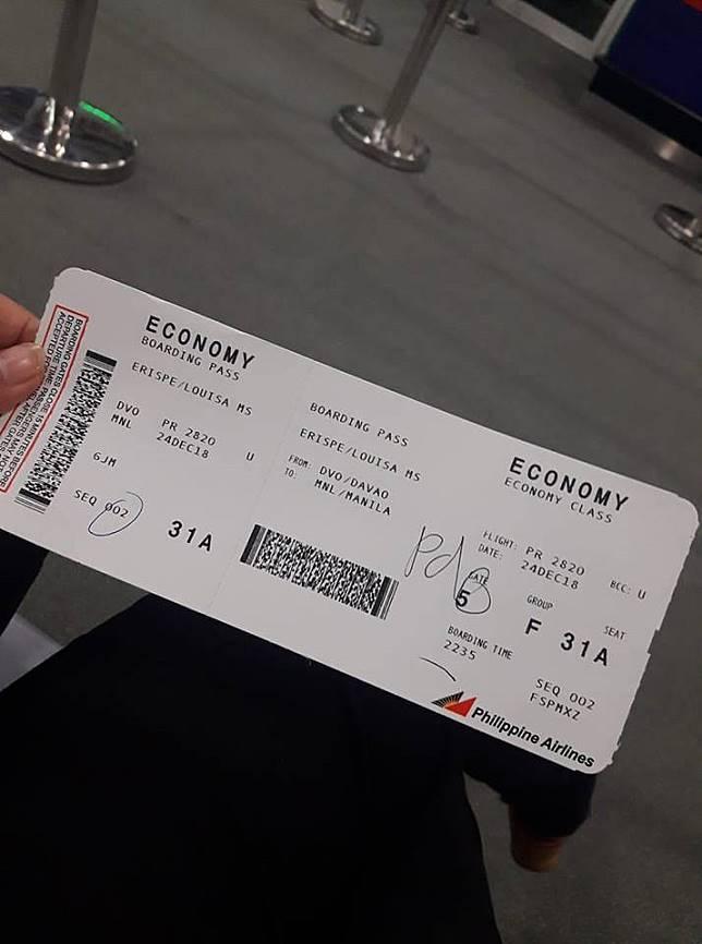 Foto tiket pesawat via (Facebook/Louisa Erispe)