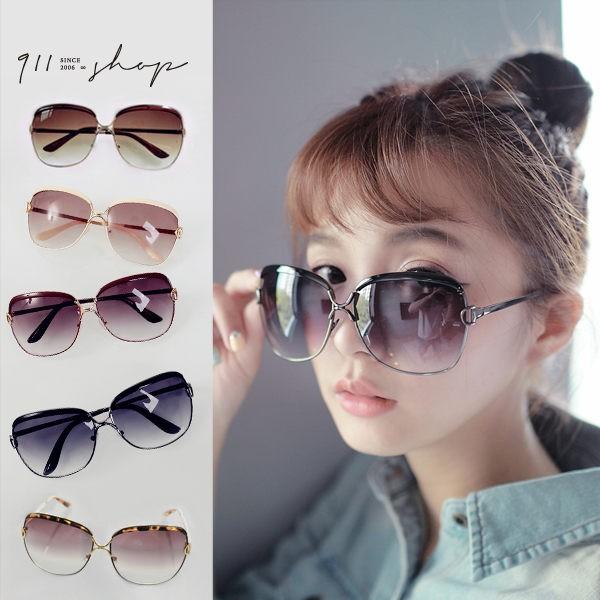 優雅側D字大方框金屬鏡架太陽眼鏡【f761】*911 SHOP*