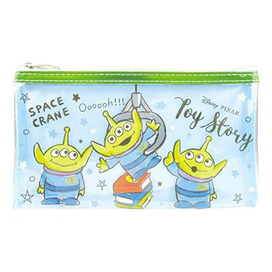 〔小禮堂〕迪士尼 三眼怪 透明防水扁平拉鍊筆袋《綠藍.夾娃娃》收納包.化妝包