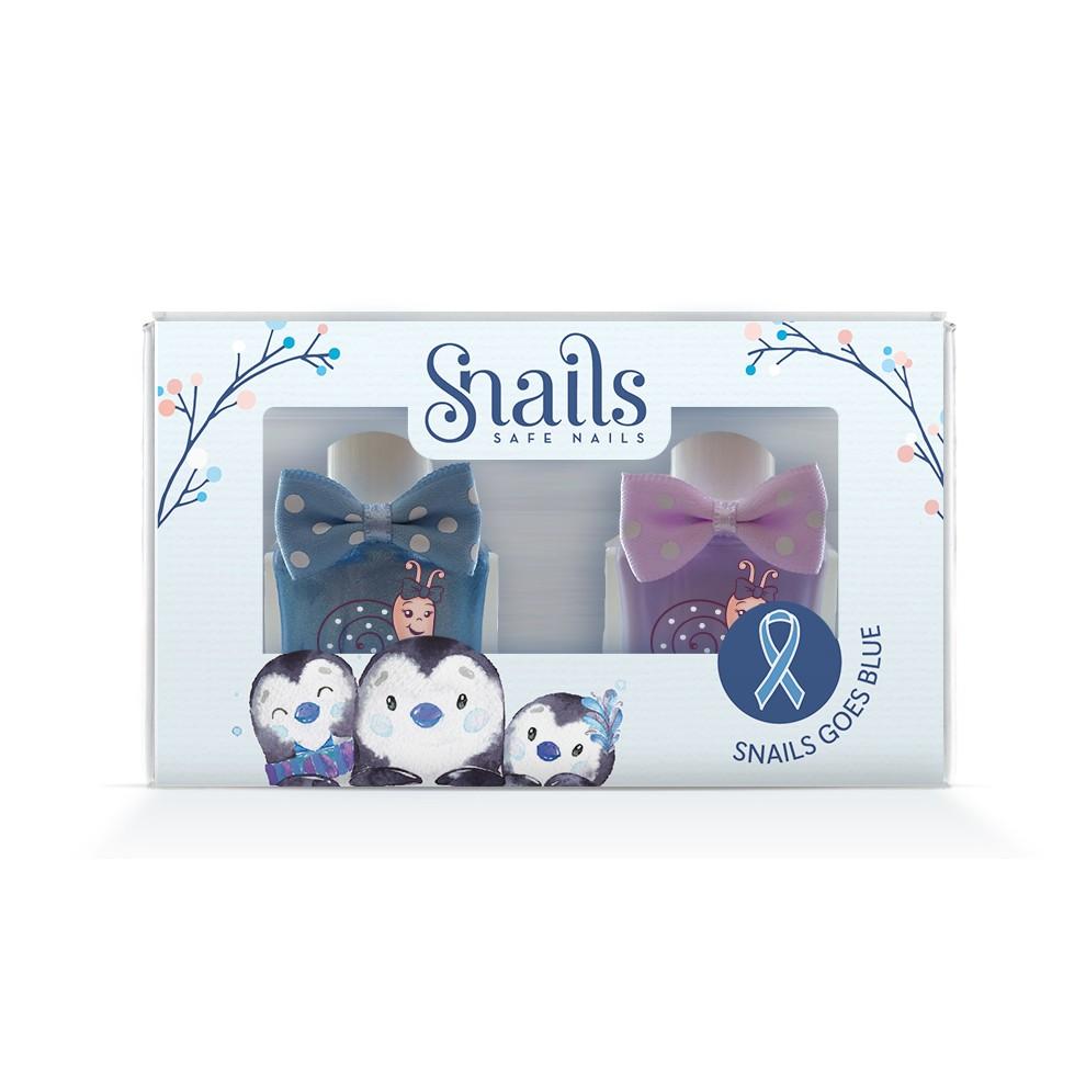 限量/新品上市/【受虐兒公益計畫】Snails Goes Blue 蝸牛藍藍兩件組 - 冰雪企鵝