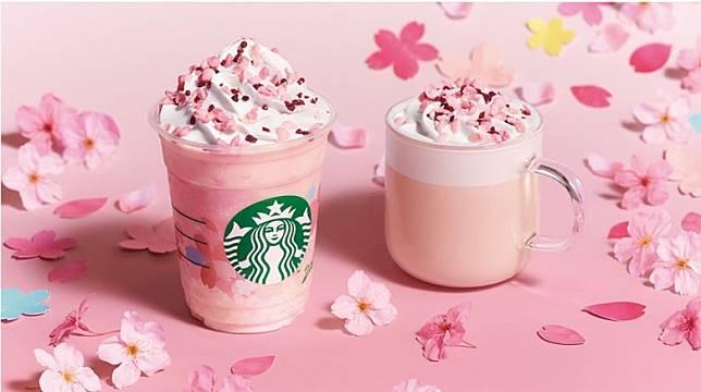 櫻花牛奶布丁星冰樂(左)及櫻花牛奶布丁牛奶咖啡。(互聯網)