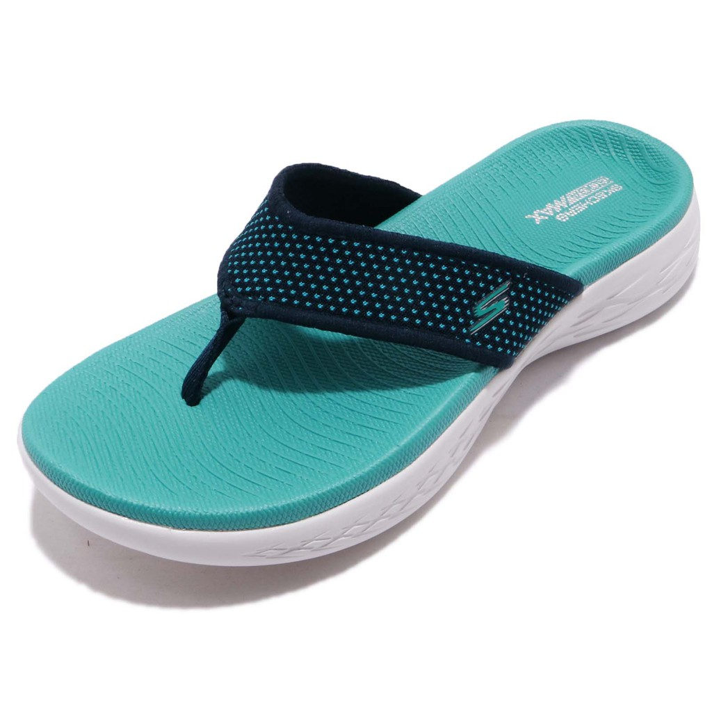 Skechers 拖鞋 On The Go 600 藍 白 人字拖 緩震舒適大底 女鞋 15300NVTQ 【ACS】