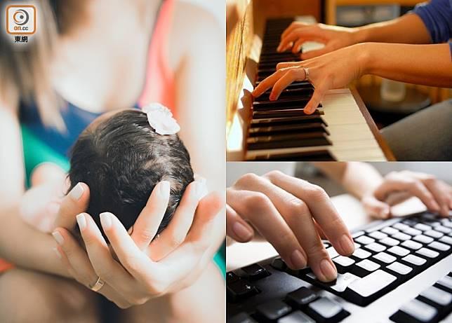 經常抱B、彈琴或打字者,都是患上「媽媽手」的高危一族。(設計圖片)