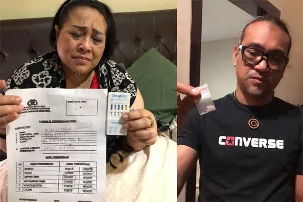Komedian Nunung beserta suaminya memperlihatkan hasil tes urine dan bukti sabu-sabu yang diduga mereka konsumsi. Foto: Ist