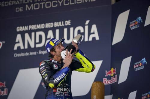 Rossi saat finis podium di MotoGP Andalusia 2020