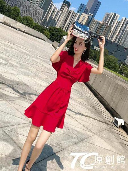 洋裝 氣質裙子仙女超仙森系洋氣甜美收腰顯瘦紅色連身裙新款夏流行 TC原創館