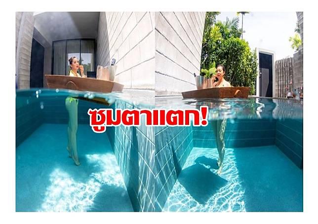 ซูมตาแตก! 'บุ๋ม ปนัดดา' เปิดภาพเงาสะท้อนชุดว่ายน้ำในสระ