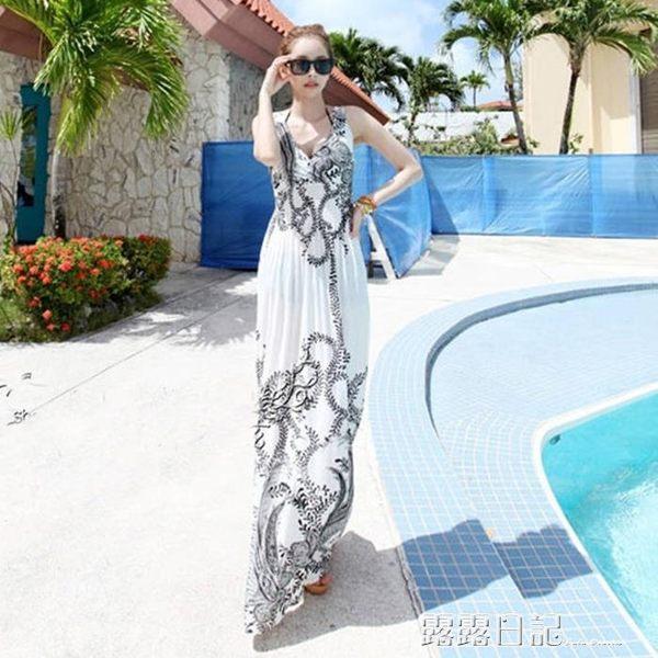 波西米亞冰絲裙V領吊帶長裙印花洋裝夏海邊度假沙灘裙 露露日記