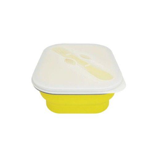 可折疊環保矽膠餐盒 。附環保兩用湯匙叉子組 。輕便好收納!旅遊必備 。三色選擇