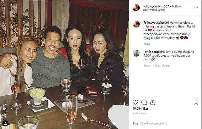 A post from Azura's Instagram account shows her with Lionel Richie.