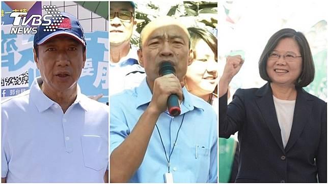 鴻海創辦人郭台銘、高雄市長韓國瑜、總統蔡英文(由左至右)。圖/TVBS、中央社