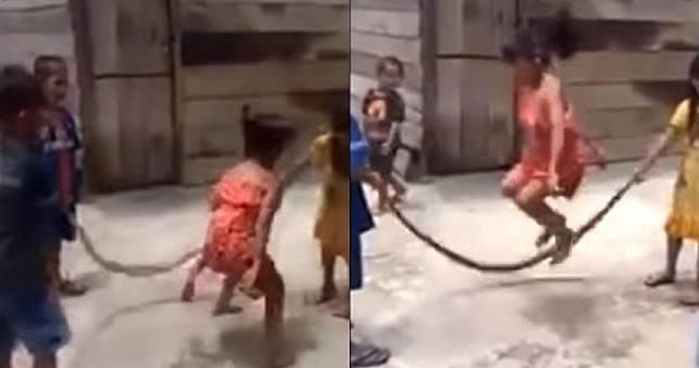 紅衣小女孩開心玩跳繩 發出「詭異聲響」網友細看嚇歪