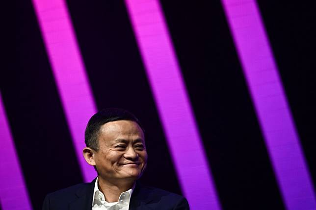Jack Ma, CEO of Chinese e-commerce giant Alibaba, speaks during his visit at the Vivatech startups and innovation fair, in Paris on May 16, 2019.