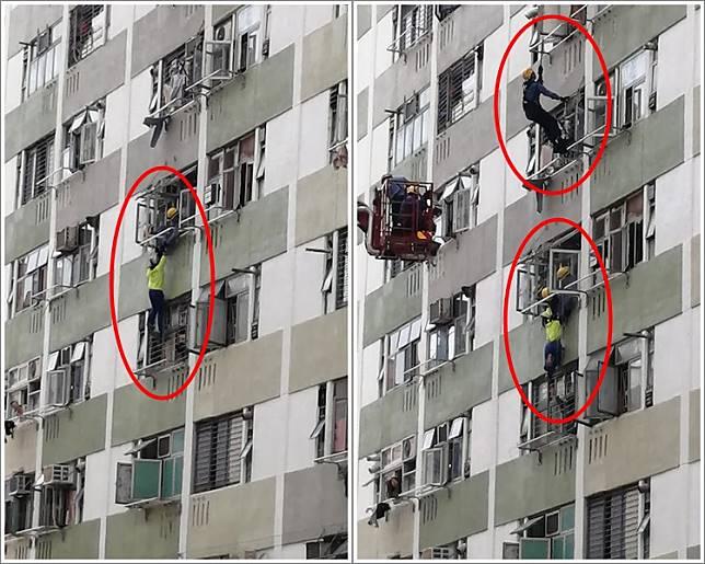 少女一度情緒激動,消防員趁機捉實她的雙手。圖:香港突發事故報料區 網民Kevin Mak
