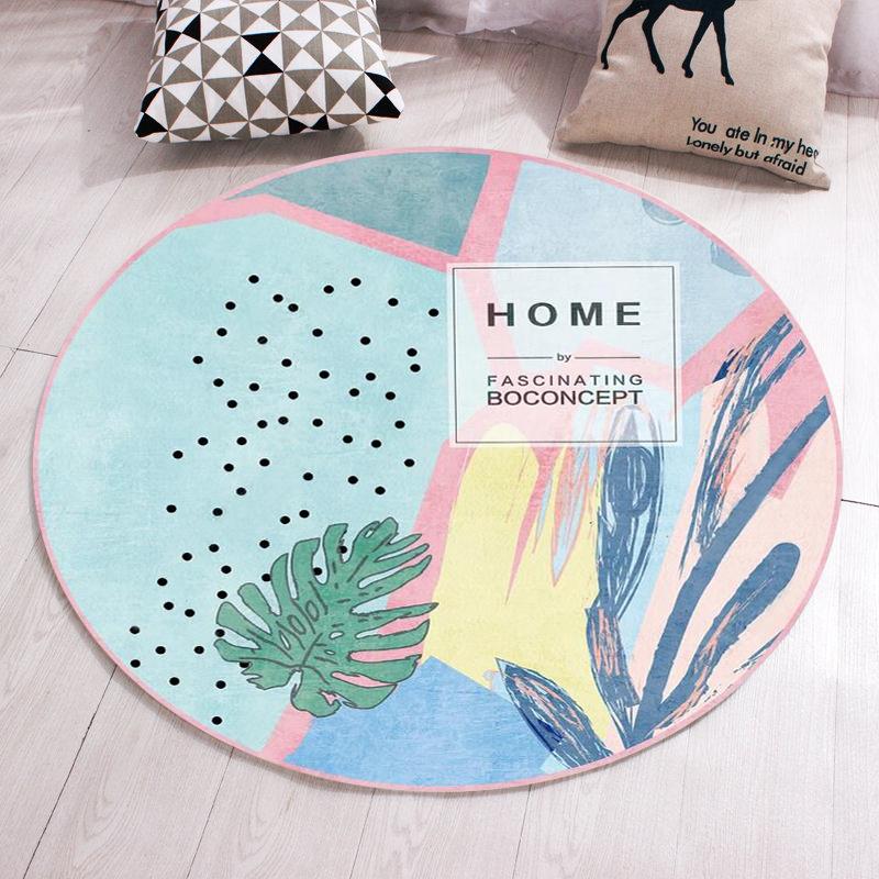 圓形地毯簡約現代北歐客廳臥室床邊地毯可愛卡通吊籃墊子電腦椅墊