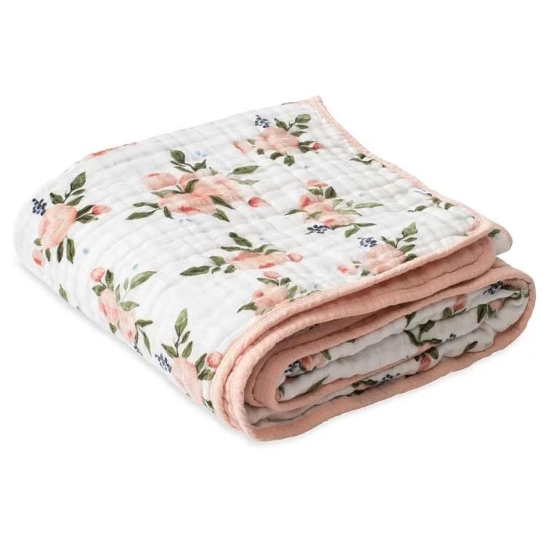 美國 Little Unicorn - 純棉四層紗布毯(被子)-水彩玫瑰