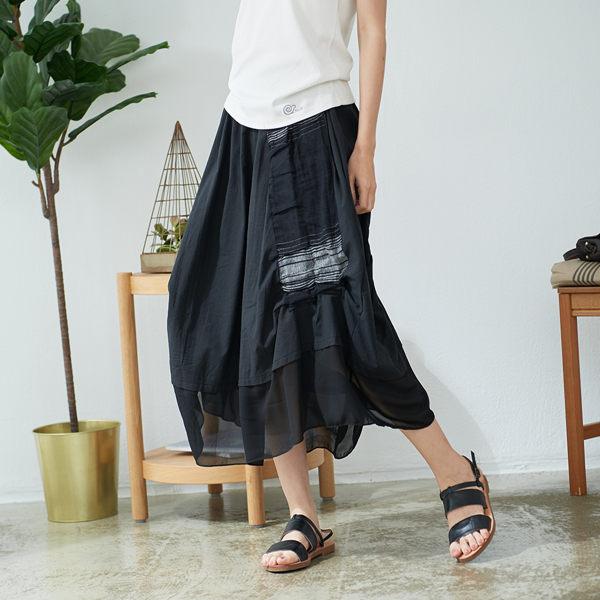 【慢。生活】設計師雪紡拼接文藝長裙 563 FREE黑色