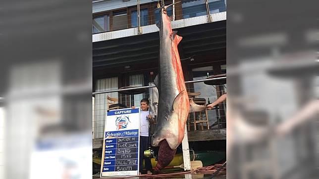 傑登僅用15公斤的釣魚線就釣起314公斤重(692磅)的虎鯊。圖/CoastfishTV