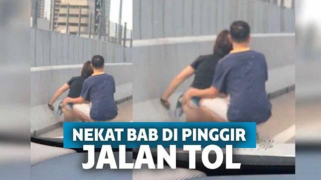 Wanita Ini Buang Air Besar di Jalan Tol