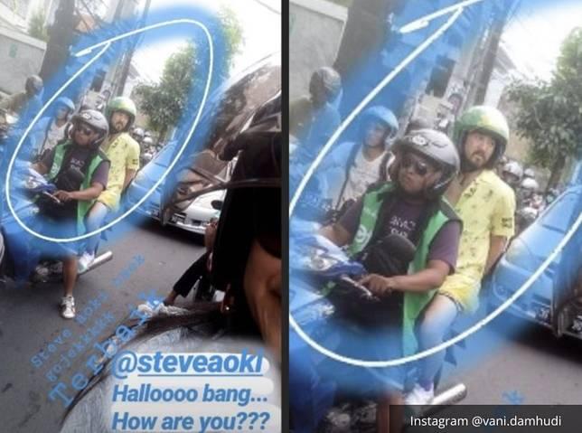 DJ Steve Aoki Naik Ojek Online di Bali