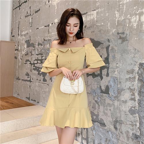 SaSa 韓國風名媛一字領魚尾包臀性感荷葉短袖洋裝