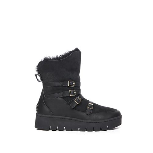 【Australia Luxe】CURRIE 真皮皮扣厚底雪靴-黑