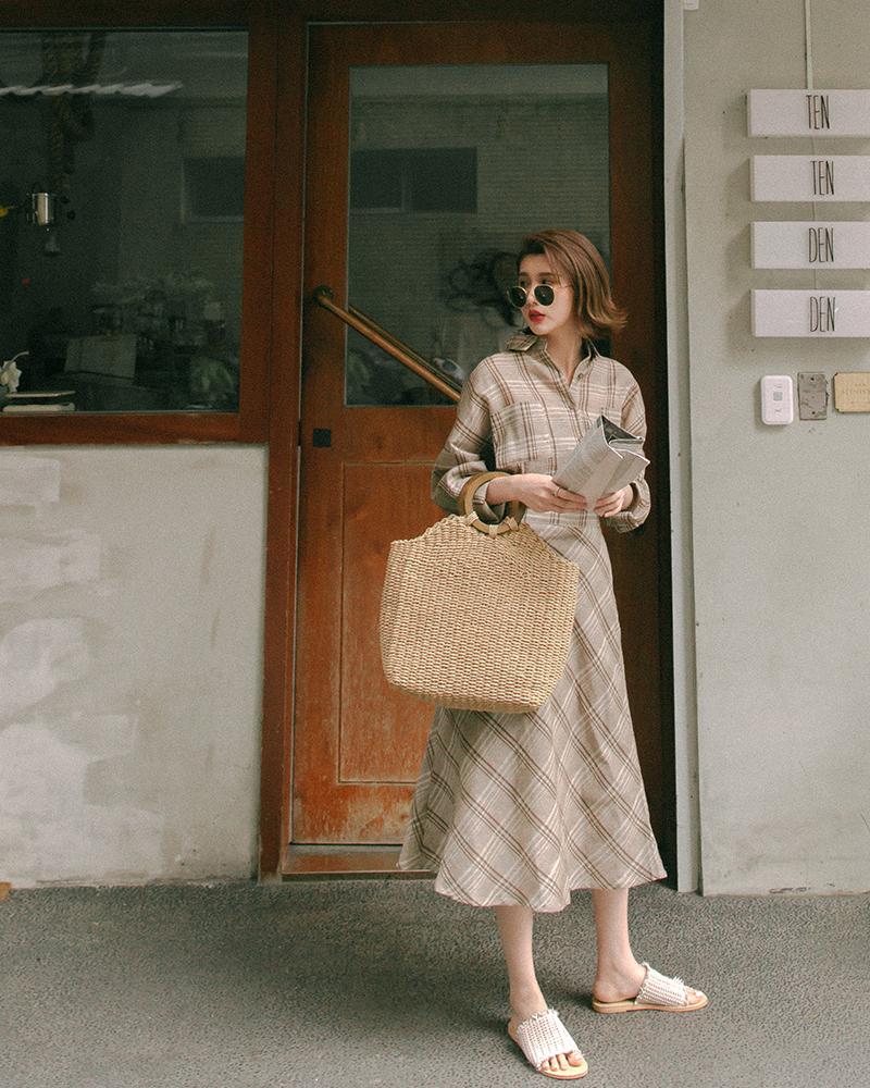 Mercci22+棉麻格紋襯衫裙套裝