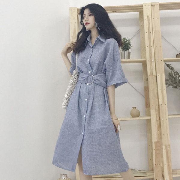 現貨 夏季新款綁帶收腰顯瘦POLO領襯衫裙子韓版chic單排扣短袖連衣裙女 短袖 洋裝連身裙