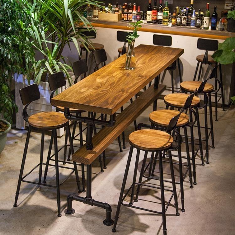 家用靠牆吧台桌椅實木吧台星巴克高腳桌咖啡廳長條桌子奶茶店桌椅 卡布奇诺hm - 吧椅