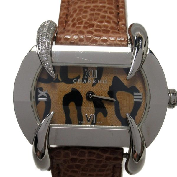 CHARRIOL 不鏽鋼錶殼棕色豹紋雙針皮帶石英錶 【二手名牌BRAND OFF】