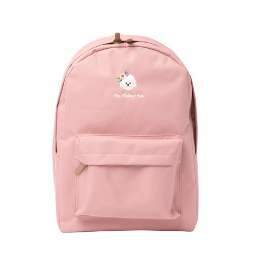 一款亮麗的粉紅色雙色雙肩背包,上有比熊刺繡花卉圖案。這是一個日常背包,您可以舒適地隨身攜帶,基本的背包尺寸。前面底部有一個大口袋,因此可以方便分開和存放物品。背包背面的肩帶長度可調,因此您可以根據自己