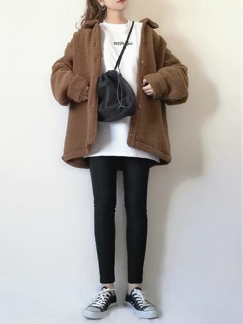 UNIQLO 棕色工裝風寬鬆款有領毛絨外套