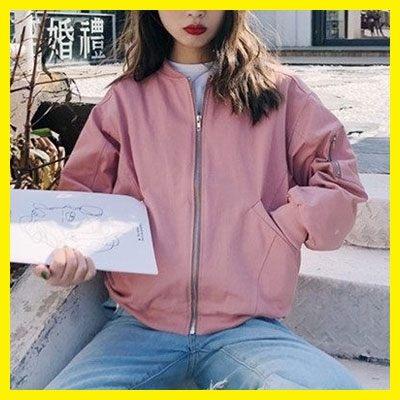 寬鬆又酷又溫柔的粉色立領拉鏈棒球夾克外套女