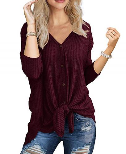 【美國代購】IWOLLENCE 女款華夫爾針織長版上衣領帶結亨利上衣寬鬆合身蝙蝠翼素色襯衫